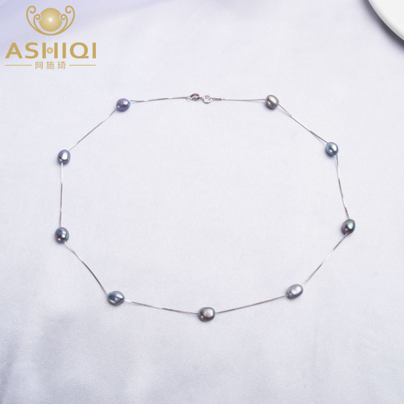 ASHIQI Baroque Natural Freshwater Pearl Necklace Pendant For Women With 925 Sterling Silver Chain Fashion Jewelry
