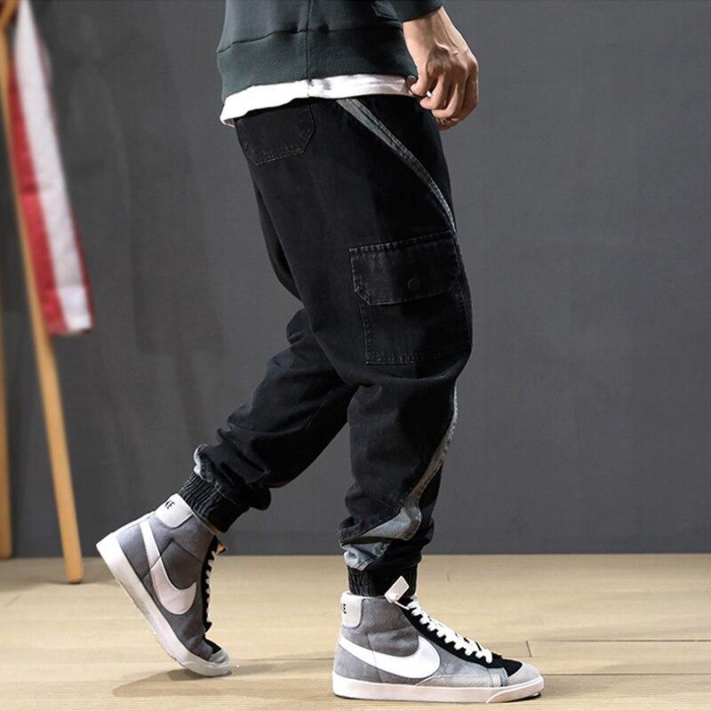 Fashion Streetwear Men Jeans Loose Fit Slack Bottom Black Harem Jeans Men Stripe Designer Big Pocket Hip Hop Joggers Cargo Pants