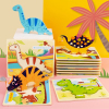 Kids Hand Grab Board 3D Puzzle Wooden Toys for Children Dinosaur Animal Jigsaw Toddler Baby Early Educational Learning Toys