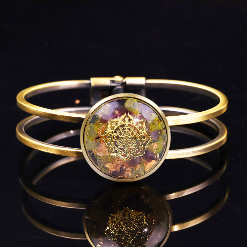 Orgonite Bangle Natural Crystal Chakra Bracelet Reiki Stone For Jewelry Making For Women Charm Jewelry Gifts Couples Bracelets(China)