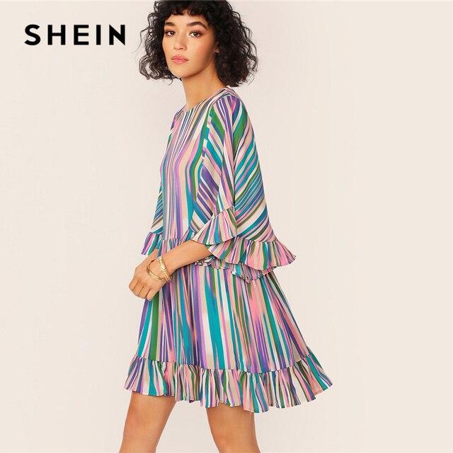SHEIN Exaggerate Bell Sleeve Ruffle Hem Colorful Striped Dress Women Summer Autumn O Neck High Waist Boho Cute Short Dresses