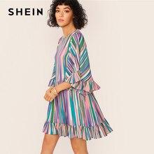 SHEIN المبالغة جرس كم كشكش تنحنح الملونة مخطط اللباس المرأة الصيف الخريف يا الرقبة عالية الخصر بوهو لطيف فساتين قصيرة