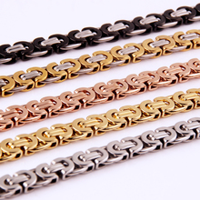 Custom Size 7-32 6mm 8mm 11mm Silver Gold Black Chain Byzantine or Bracelet Stainless Steel Boys Mens Necklace Jewelry
