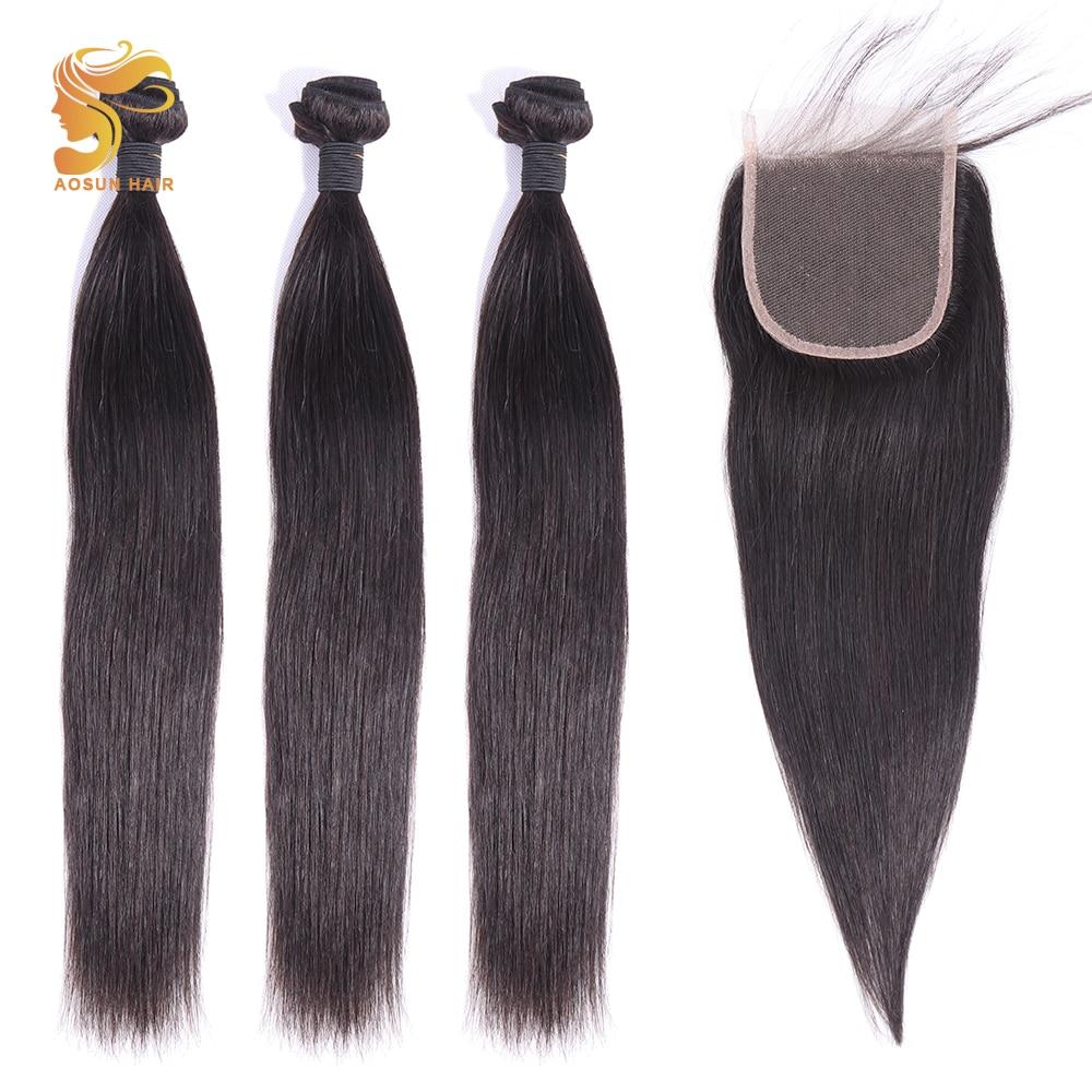AOSUN HAIR Peruvian Hair Straight 3 Bundles With Closure 100% Human Hair Bundles With Lace Closure 10-28inch Remy Hair Extension