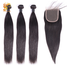AOSUN HAIR Peruvian Hair Straight 3 Bundles With Closure 100% Human Lace 10-28inch Remy Extension