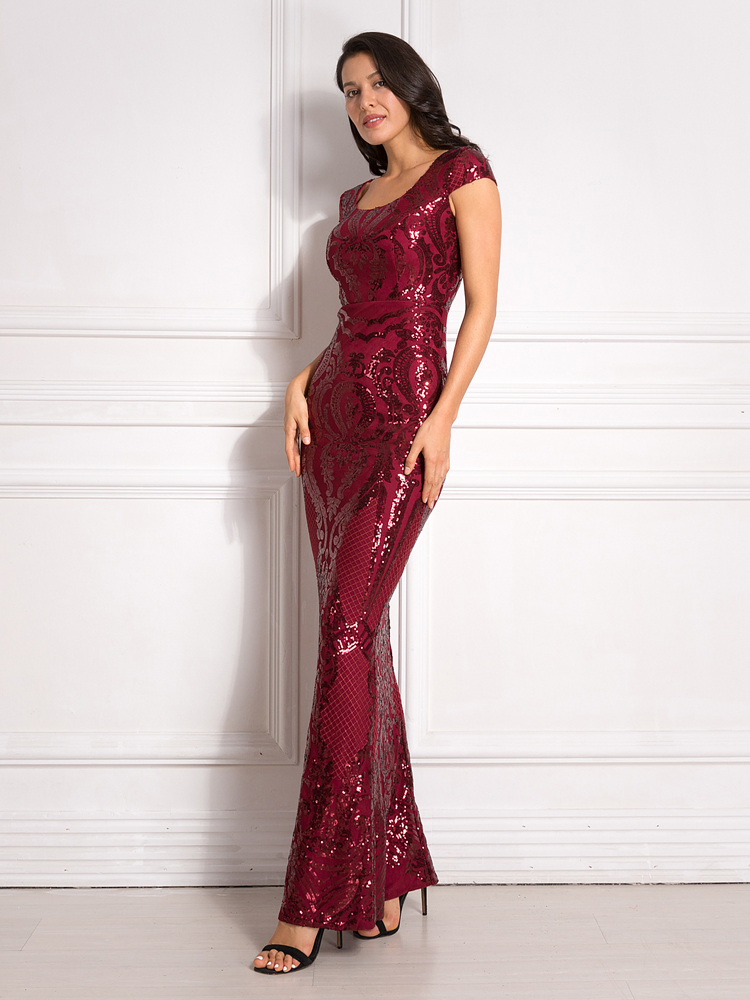 Burgundy Sequined Evening Party Dress Cap Sleeve Floor Length Stretchy Maxi Dress 2019 Autumn Winter 10