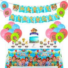 Cocomelon tema crianças favores decorar cupcake toppers varas festa de aniversário evento talheres bolo topper toalha de mesa chá de bebê
