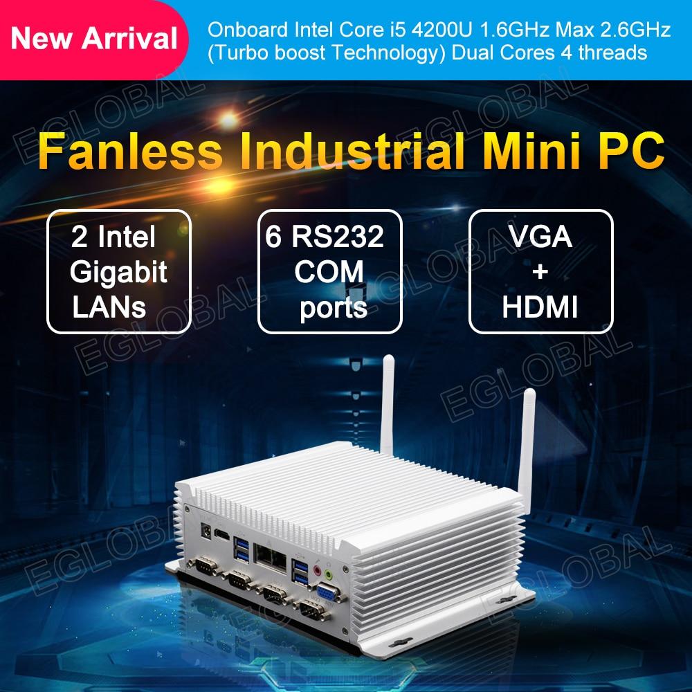 TDP 15W Pc Computer Onboard Intel Core I5 4200U 1.6GHz 2 Ethernet Mini Pc 6COM HD VGA DDR3L Industrial Pc