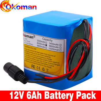 Original  capacity battery pack 12V 6000mAh 18650 lithium ion rechargeable battery 6Ah DC12.6V portable battery pack with BMS