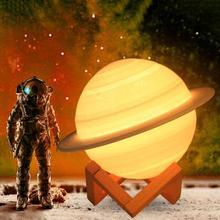 16 Colors Rechargeable 3D Print Saturn Lamp Moon