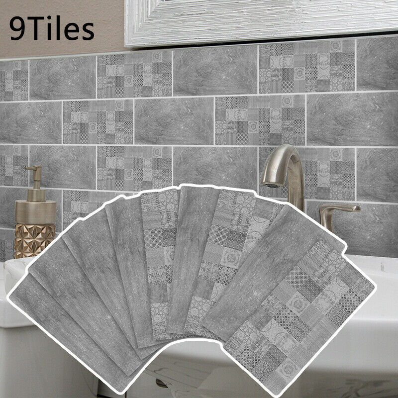 9 X Self Adhesive Kitchen Wall Tiles Bathroom Mosaic Tile Stickers Peel Stick Wall Stickers Aliexpress
