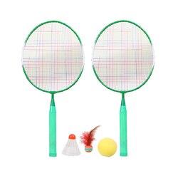 1 Juego de raquetas de bádminton, herramienta de entrenamiento de bádminton para niños, juego de deportes al aire libre con tres bolas