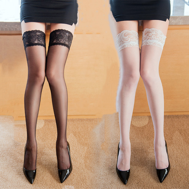 Newest 4 Colors Women Lace Top Sexy Lingerie Black Fishnet Thigh High Lace Sexy Stockings Thigh High Stockings