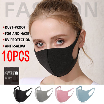 10pcs Fashion Cotton Breathable Waterproof Mask Pm2.5 Windproof&Dustproof Breathable Repeatable Adult Children Multicolor Mask