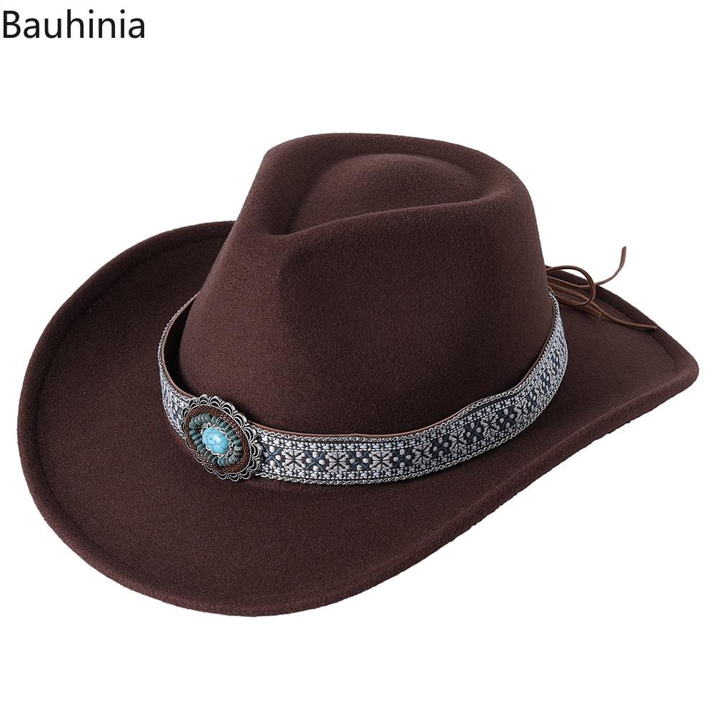 2022 Western Cowboy Hat For Women Men Wide Brim Cowgirl Jazz Cap Panama Sombrero Cap Vintage Decoration Fedora Caps