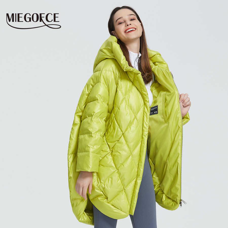 MIEGOFCE 2020 새로운 디자인 럭셔리 여성 자켓 밝은 색상 캐주얼 루즈 코트 따뜻한 특대 여성 파카 퍼프 칼라 후드