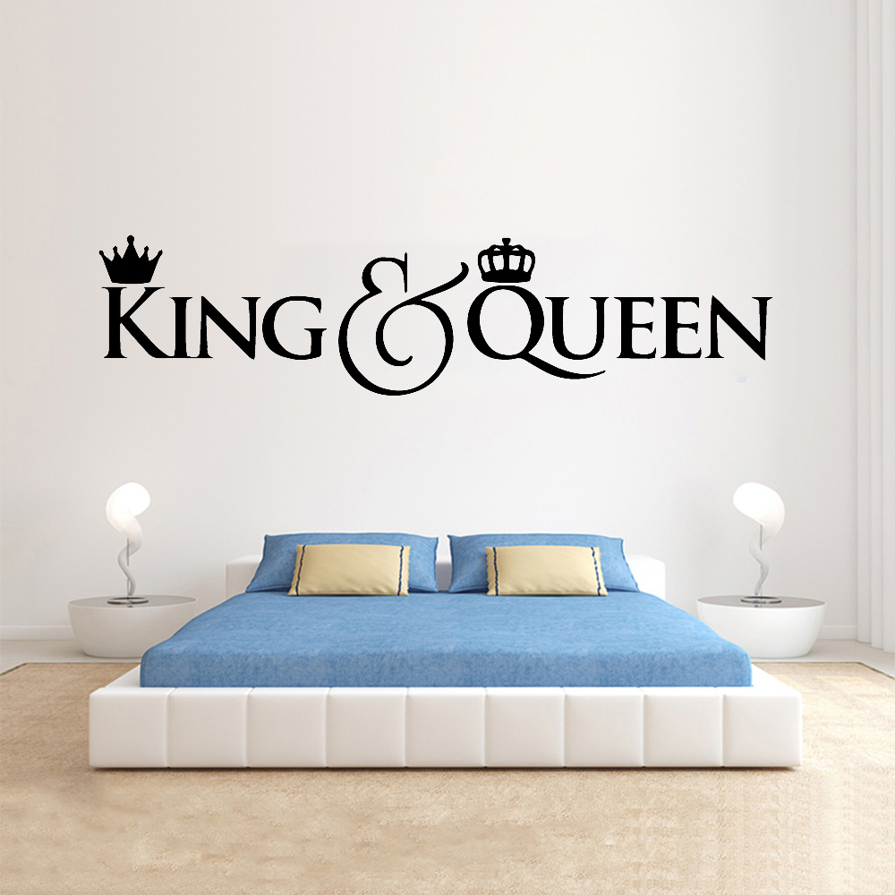King Queen Wall Decals Artistic Lettering Home Decor Couple Master Bedroom Marriage Wedding Decoration Art Wall Stickers Y567