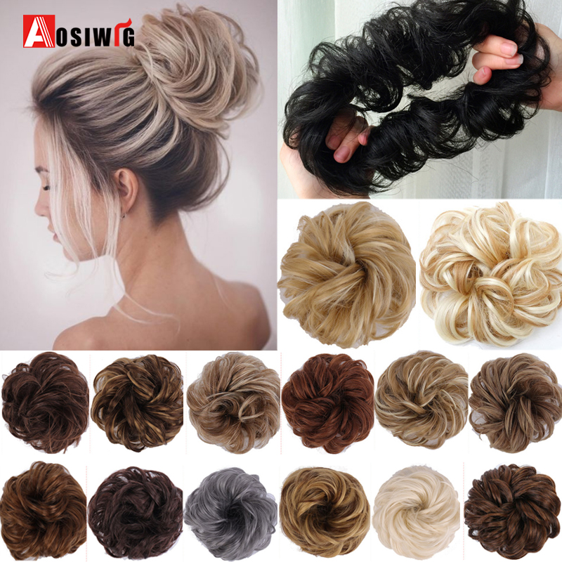 AOSI Synthetic Flexible Buns Donut Grey Brown Scrunchy Chignon Elastic Messy Curly Scrunchies Wrap Ponytail Hair Extensions