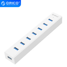 ORICO USB3.0 HUB 7 Port USB 3.0 HUB With 5V2A Power Adapter Multiple High Speed OTG Splitter for Computer Laptop Accessories