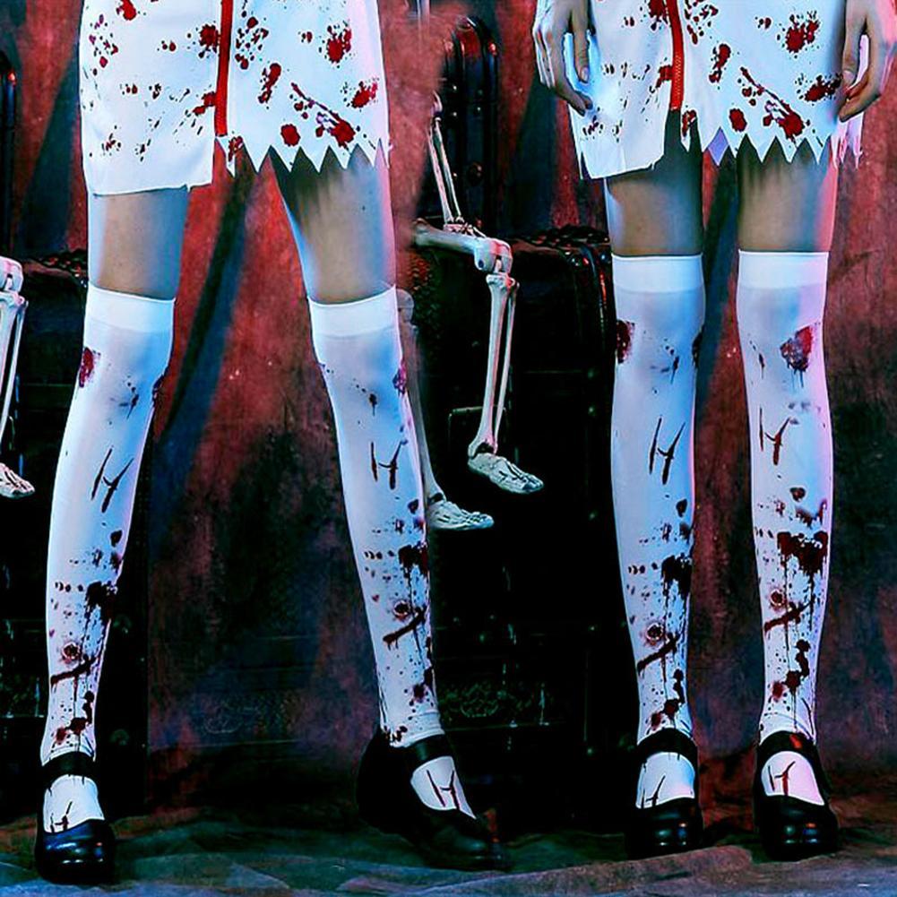 Halloween Bloody Skeleton Cobweb Bat Stockings For Women Horror Pantyhose Thigh High Socks Party  Costume Accessory