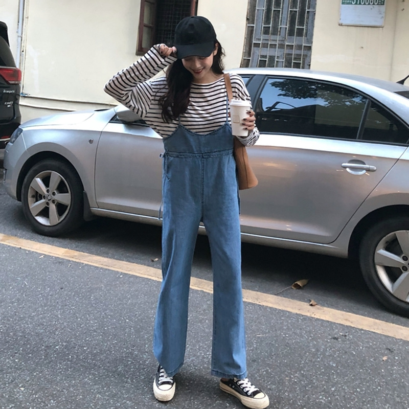 2018 Autumn Korean-style Simple Elegant Versatile High-waisted Loose Straight Onesie Female Jeans Suspender Pants Student
