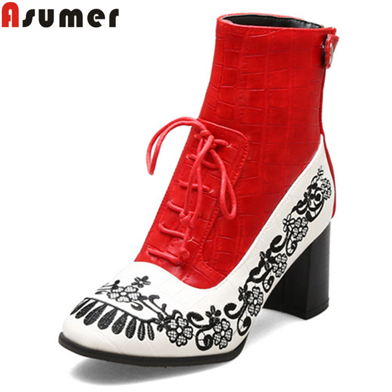 ASUMER Winter Boots Shoes High-Heels Autumn Big-Size Fashion 34-43 Zip Ankle Round-Toe