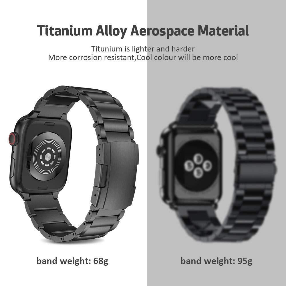 Pour Bracelet de montre Apple 40mm 44mm alliage de titane bracelets de montre en métal 38mm 44mm trois liens Bracelet pour iWatch série 1 2 3 4 5