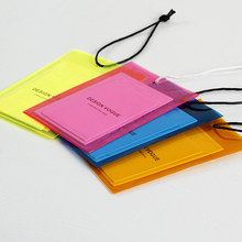 Customized Printed Garment Hang Tag Labels in Specialty Paper Use for Clothing / Shoes / Cases with PVC Bags 5 Colors