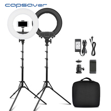 Capsaver 14 인치 링 램프 LED 링 라이트 메이크업 라이트 Selfie 고리 형 램프 스탠드 전화 홀더 Youtube 비디오 사진