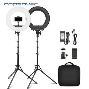 Image 1 - Capsaver 14 cali lampa pierścieniowa lampa pierścieniowa led Makeup Light Selfie lampa pierścieniowa z stojak z uchwytem na telefon do Youtube zdjęcie wideo