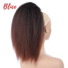 """Blice 14 """"الرباط لون المزيج 4/27 وصلات شعر اصطناعية مقاومة للحرارة غريب مستقيم الشعر مع اثنين من ذيل حصان مشط البلاستيك"""