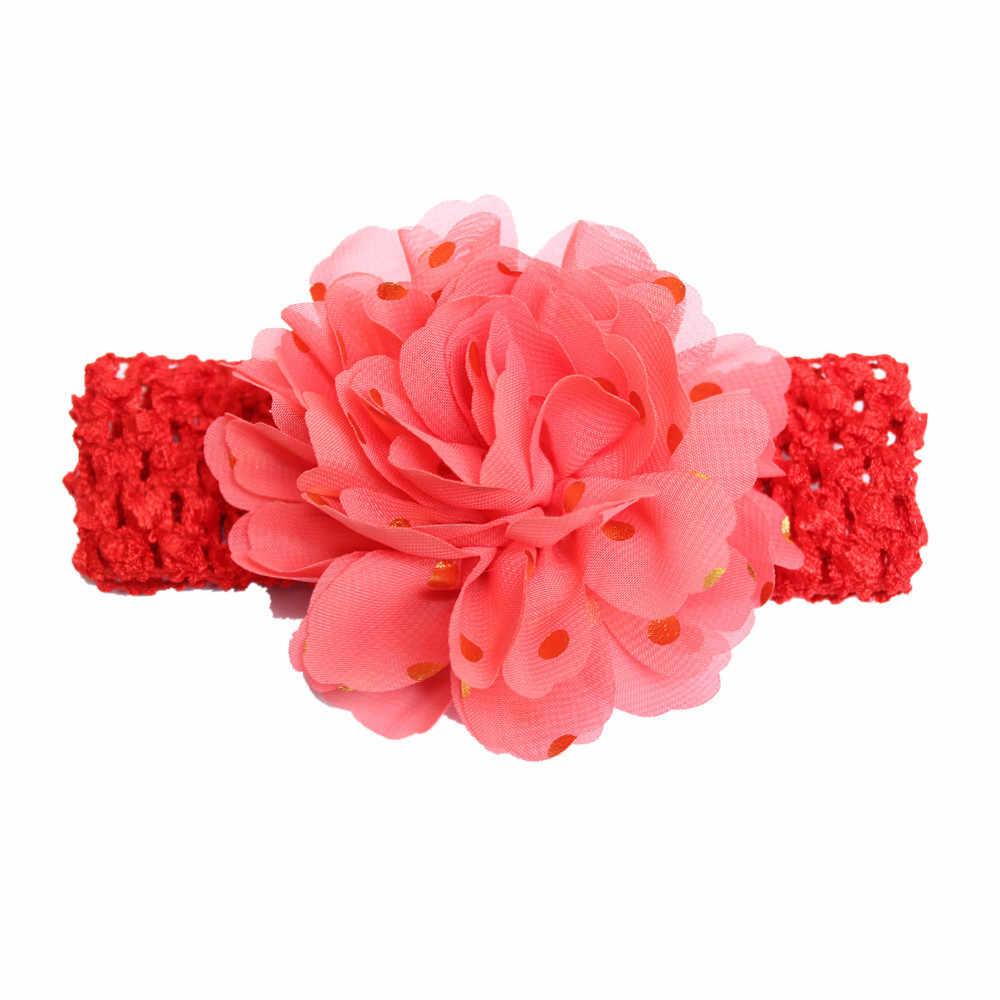 Nuovi sequins grandi fiori Elasticità Larga fascia del bambino 12 colori accessori Dei capelli Dei Bambini stampa a caldo chiffon fascia per capelli