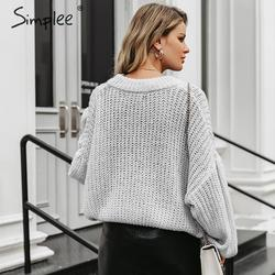 Simplee Winter lantern sleeve knitted sweater pullover Women loose round neck red sweater Female autumn casual sweater jumper 5
