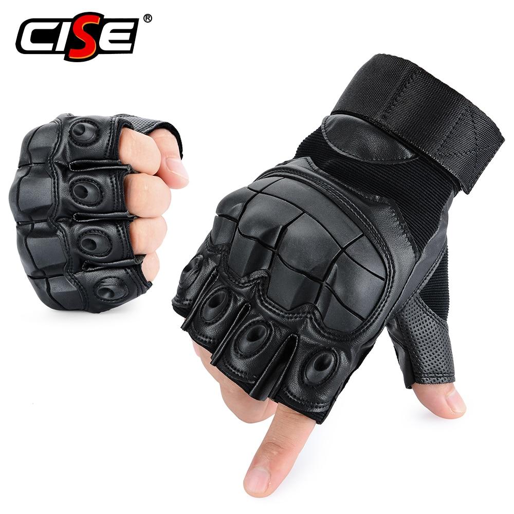 PU Leather Motorcycle Half Finger Glove Motorbike Motocross Moto Hard Knuckle Fingerless Riding Biker Protective Gear