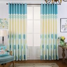 American Idyllic Little Fresh Lake Blue Children's Print Curtains for Living Dining Room Bedroom.