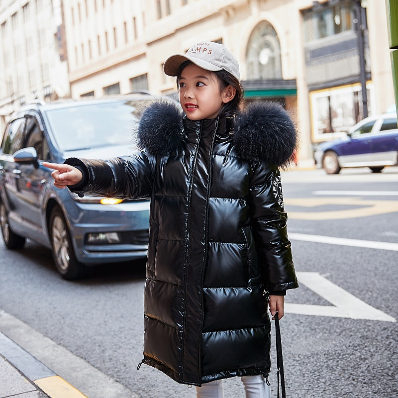 OLEKID Children Girls Winter Coat Glossy Waterproof Winter Down Jacket For Girls 5-14 Years Kids Teenage Parkas Doudoune Enfant