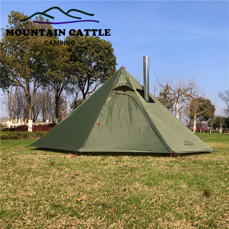 3-4 Person Ultralight Outdoor Camping Teepee Big Pyramid Tent Backpacking Hiking Tent with Rod Stovepipe Hole Awnings Shelter (4)
