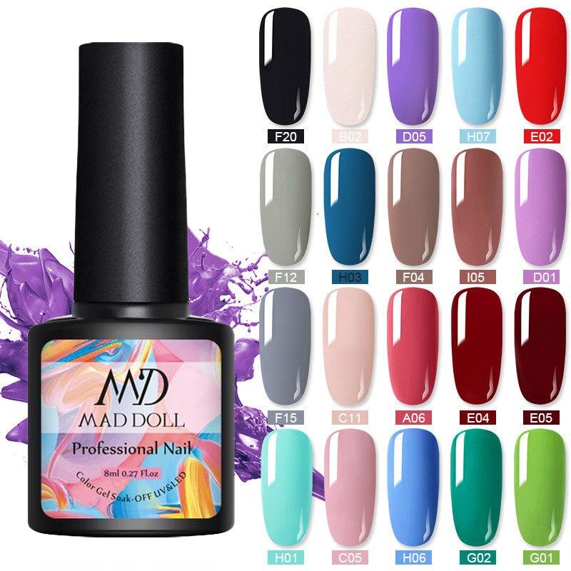 NEE JOLIE 8ml Gel Polish UV LED Nail Varnish Colorful Gel varnish Semi Permanent Gel Paint Nail Art DIY Design Tool(China)