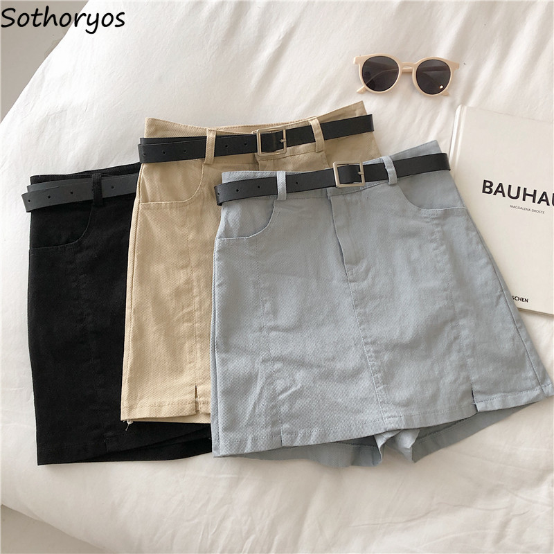Shorts Skirts Women Summer High-waists Sashes Solid Pockets Outwear Students Leisure Elegant Korean Style A-line Slim Female New