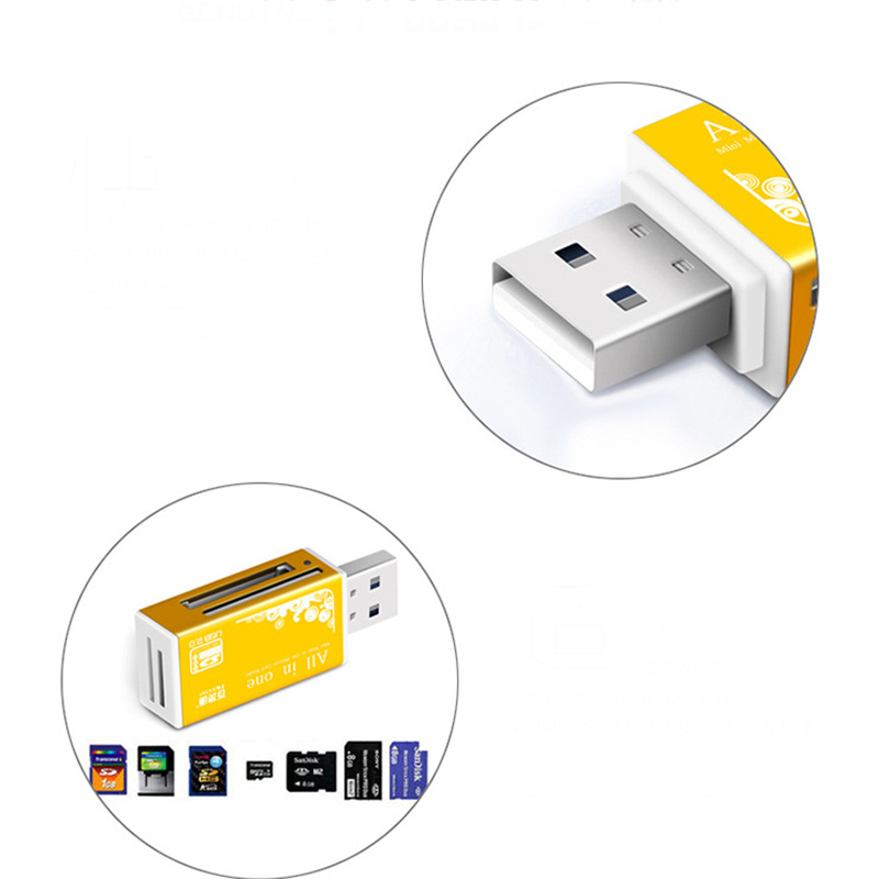 Купить с кэшбэком 4-in-1 Aluminum Shell Metal Card Reader USB2.0 All-in-one High-speed Universal SD TF Card Reader  MMC Card  Readers