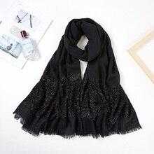 Foulard Hijab pour femmes, Long foulard à paillettes en Viscose pour femmes, couleur unie, blanc, noir, frange, châle, 2020