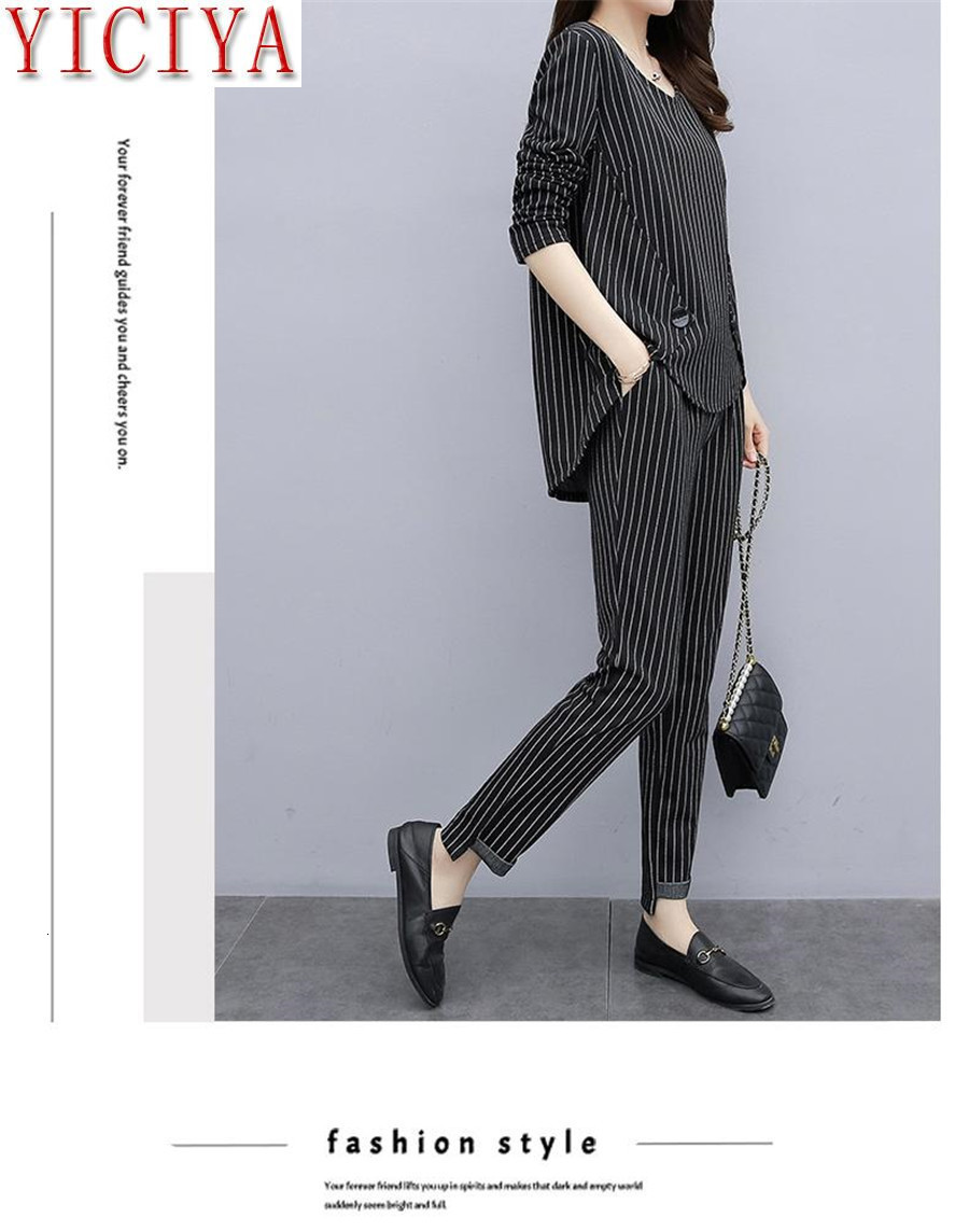 Hba4b2ca47e5c46238f16521d5496cf90a - Striped 2 Piece Set Tracksuits Outfits for Women Plus Size Large Matching Co-ord Winter Clothes 2piece Cotton Linen high quality