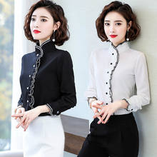 Spring Autumn 2020 Women Fungus Chiffon Long Sleeved Shirt Female Pleated Bottoming Tops & Blouses Plus Size 4XL