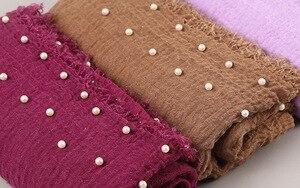 Image 4 - Plain Women Hijab Scarf Female Bubble Cotton Beading Headscarf Wrap Fringe Crumple Muslim Scarves/Scarf Oversize shawls 180x95cm