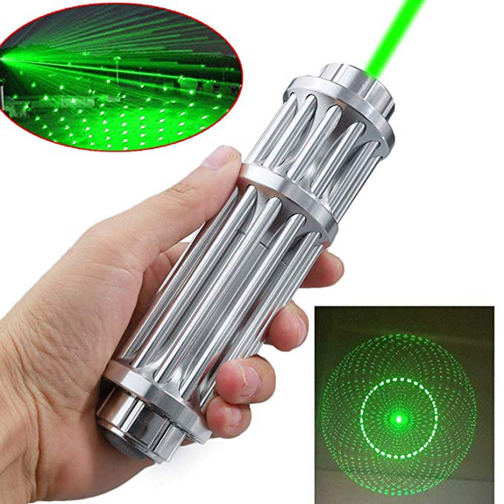Hunting Green Laser Pointer Silver 532nm 10000m Laser Pointer Pen Lazer Beam Light Focus Adjustable  Burning Match Laser Pen
