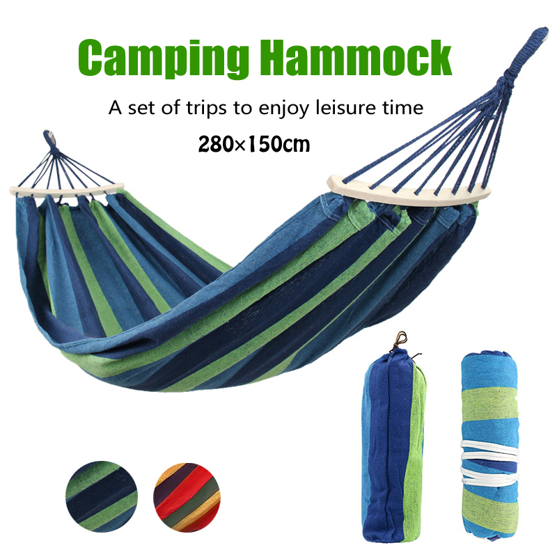 280*150cm 2 People Portable Outdoor Canvas Camping Hammock Bend Wood Stick Steady Hamak Garden Swing Hanging Chair Hangmat