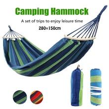 лучшая цена 280*150cm 2 People Portable Outdoor Canvas Camping Hammock Bend Wood Stick steady Hamak Garden Swing Hanging Chair Hangmat