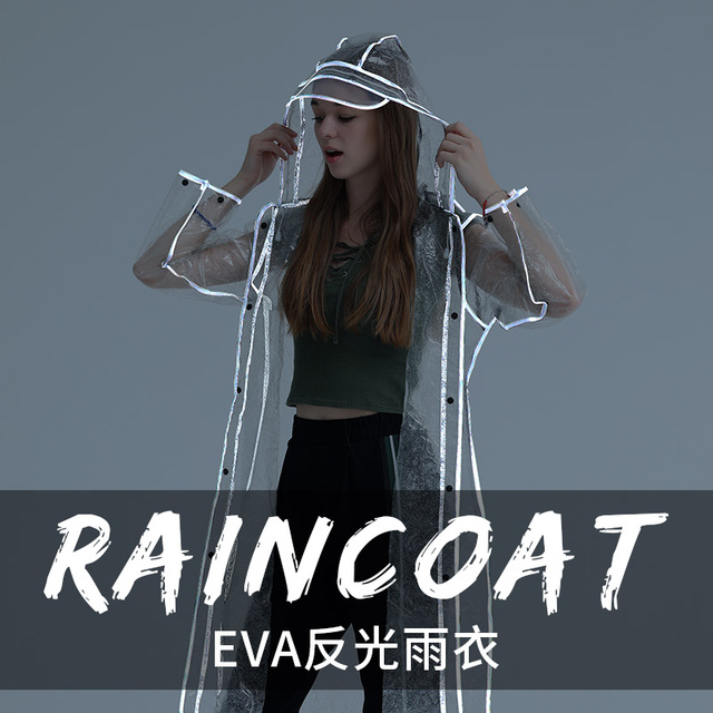 Adult Transparent Raincoat Women Thickened Clear Rain Coat EVA Outdoor Hiking Reflective Long Rain Poncho Jacket Impermeable