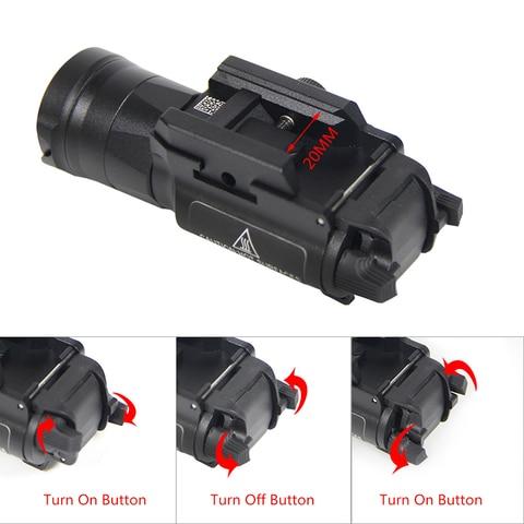 x300 glock gun branco led caca lanterna para 20mm picatinny trilhos