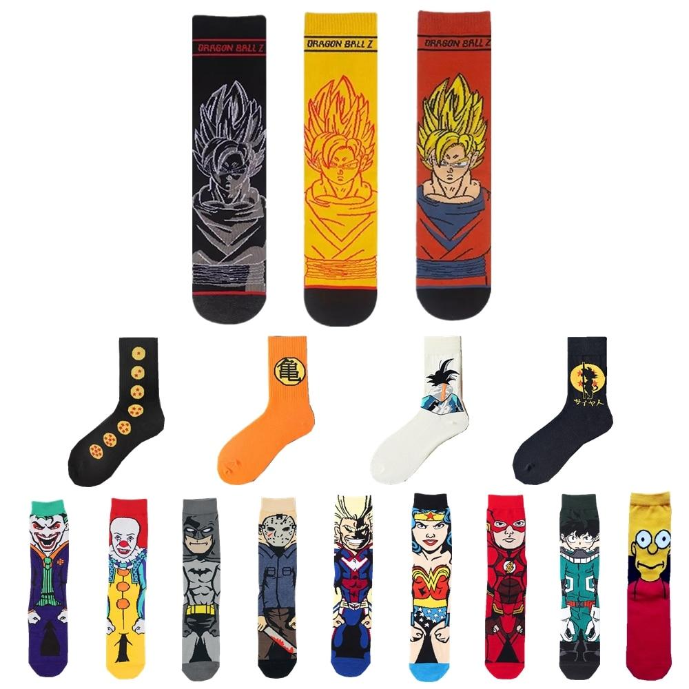 Men's Autumn Winter Cotton Funny Crew Socks Cartoon Dragon Z Ball Super Saiyan Son GoKu Anime Japanese Street Fashion Tide Socks